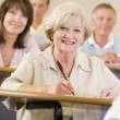 Senior woman listening to a university lecture — Stockfoto