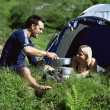 Couple camping in the great outdoors — Stock Photo #4754401