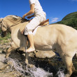 Young woman crossing a river by horse — Stock Photo #4754438