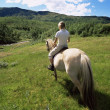 Rear view of young woman riding horse in rural setting - Stock Photo