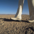 Man walking in desert, low section, , - Stock Photo