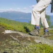Close-up of woman hiking in the great outdoors, — Stock Photo