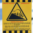 Warning sign in a snow covered area — Stock Photo