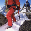 Young men mountain climbing on snowy peak — Stock Photo #4754657