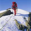 Young man mountain climbing on snowy peak - Stock Photo