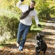 Foto Stock: Mexercising dog in woodland