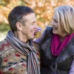 Senior couple on autumn walk — Stock Photo
