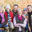 Multi-generation family on autumn walk — Stock Photo
