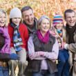Multi-generation family on autumn walk — Stock Photo #4754958
