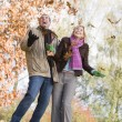 Foto Stock: Young couple having fun with autumn leaves