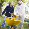 Son helping father collect leaves — Stockfoto