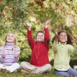 Group of children playing in autumn leaves — Stockfoto #4755040