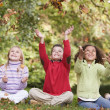 Стоковое фото: Group of children playing in autumn leaves