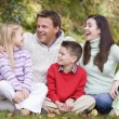 Стоковое фото: Family relaxing in autumn woodlands