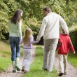 Stock Photo: Rear view of family walking along track