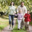 Family running along woodland track — Stock Photo #4755070