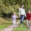 Mother and children walking along woodland path — Stock Photo
