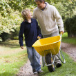 Stock Photo: Father and son pushing wheelbarrow