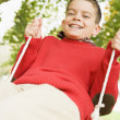 Young boy having fun on swing - Stock Photo