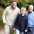 Stockfoto: Grandfather walking with son and grandson