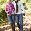 Stock Photo: Young couple on autumn walk