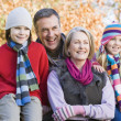 Stock Photo: Grandparents and grandchildren on walk