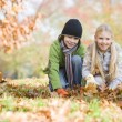 Stock Photo: Two children collecting leaves