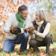 Senior couple collecting autumn leaves — Stock Photo