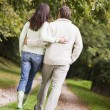 Rear view of couple walking along path — Stock Photo #4755168