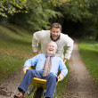 Grown up son pushing father in wheelbarrow — Stockfoto