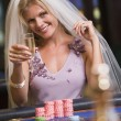 Woman enjoying bridal shower at casino — Stock Photo