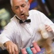 Man placing bet at roulette table — Stock Photo