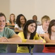 Stock Photo: College students listening to a university lecture