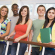 Group of college students on campus - Stock Photo