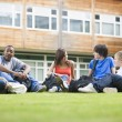 College students sitting and talking on campus lawn - Photo