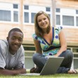 Two college students using laptop on campus lawn, - Stockfoto