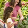 Mother and daughter in produce section — Stock Photo