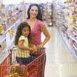 Mother and daughter grocery shopping — Stock Photo