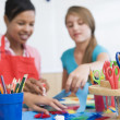 Elementary school art class - Stock Photo