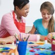 Elementary school art class — Stock Photo