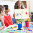 Elementary school pupil in art class — Stock Photo