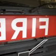 Detail of the front of a fire engine - Stock Photo