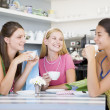 Young women enjoy tein cafe — Stock Photo #4758589