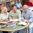 Mature students studying together in library — Stock Photo