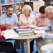 Stock Photo: Mature students studying in library