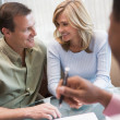 Couple in consultation at IVF clinic - Foto Stock
