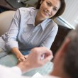 Woman in consultation at IVF clinic — Stockfoto