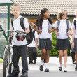 junior school children leaving school — Stock Photo #4759499