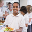 Schoolboy holding plate of lunch in school cafeteria — Stock Photo #4759654