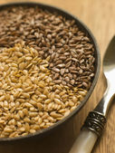 Dish of Golden and Brown Linseed — Stock Photo